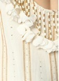 Sundress Varaklı Çiçekli Mini Elbise Beyaz